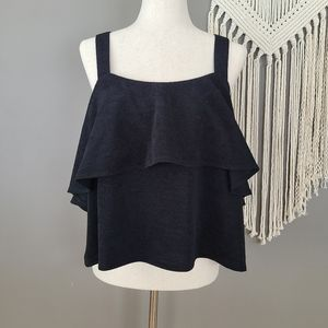 Madewell | Texture and Thread Tiered Tank Black XL